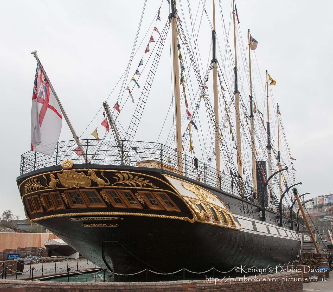 Designed by Isambard Kingdom Brunel and completeted in 1843, The SS Great Britain was - at the time - the larget vessel afloat and the first to feature an iron hull and screw propeller and the first steam ship to cross the Atlantic. She now lies as a museum in the same dry dock in the Great Western Dockyard in which she was built.