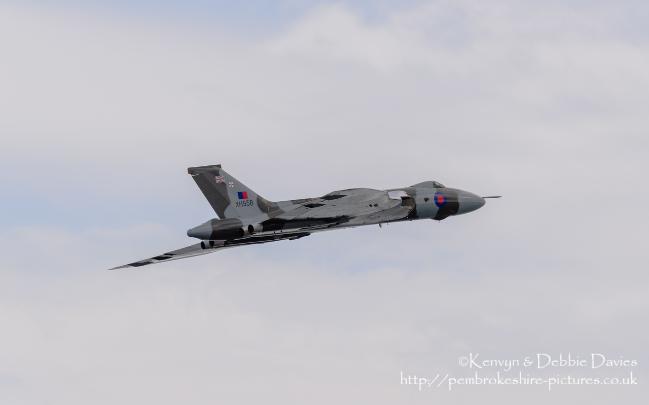 The Spirit Of Great Britain is the only airworthy example of the 134 Avro Vulcan V bombers that were operated by the Royal Air Force from 1953 until 1984. Vulcan XH558 served with the RAF between 1960 and 1985 in the bomber, maritime reconnaissance and air-to-air refuelling roles. The RAF operated XH558 as a display aircraft from 1986 until 1992, when budget cuts forced its retirement.<br/><br/>It is presently operated by the Vulcan to the Sky Trust as a display aircraft, funded entirely by charitable donations and the UK Lottery's Heritage Fund. It is registered with the United Kingdom Civil Aviation Authority as G-VLCN but has an exemption to fly in Royal Air Force markings as XH558.<br/><br/>October 2015 will see the last flight of the Vulcan as it becomes impossible to keep it airworthy.