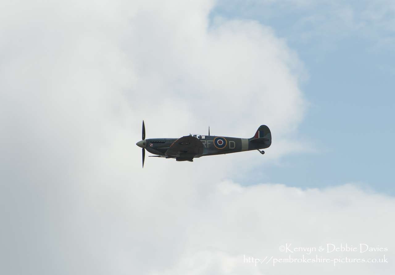 "The Wales National Air Show held in Swansea Bay on the 11th and 12th July 2009. This is a Mark 5 SuperMarine Spitfire designation EN951/RF-D ""Donald Duck"" flown by Don Blakeslee of No. 133  'Eagle' Squadron then Jan Zumbach of 303 Squadron (whose nickname was ""Donald Duck"")."