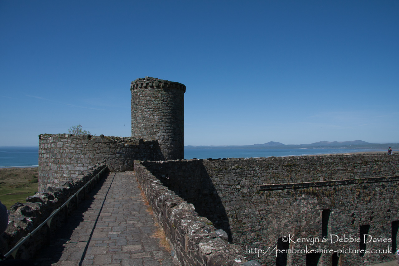 "Harlech Castle, Tremadog Bay, Snowdonia National Park in Gwynedd. Built by Edward I from 1283-1290, it is part of the ""Iron Ring"" of castles built to subdue Welsh resistance."