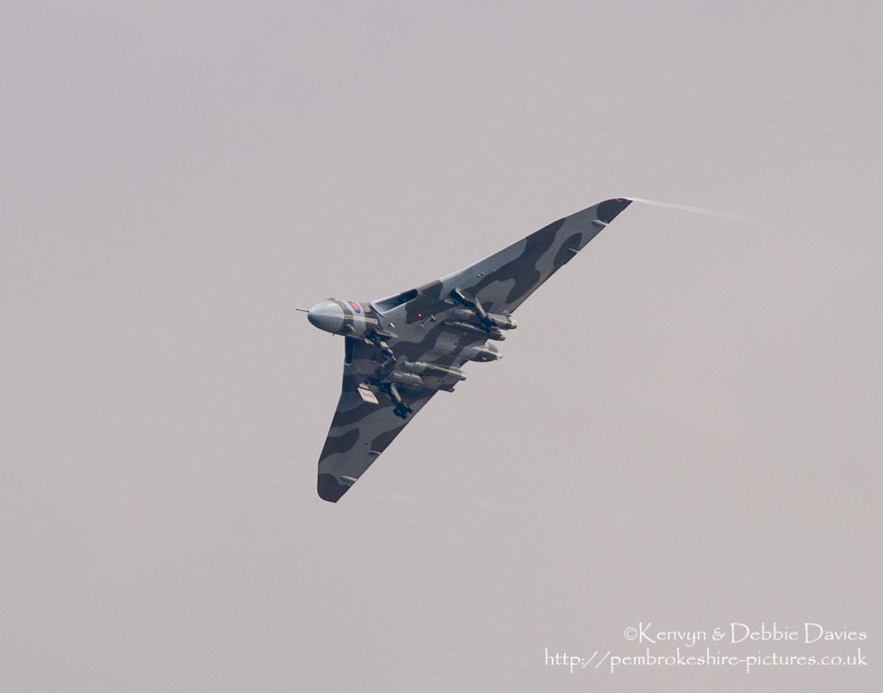 The Spirit Of Great Britain is the only airworthy example of the 134 Avro Vulcan V bombers that were operated by the Royal Air Force from 1953 until 1984. Vulcan XH558 served with the RAF between 1960 and 1985 in the bomber, maritime reconnaissance and air-to-air refuelling roles. The RAF operated XH558 as a display aircraft from 1986 until 1992, when budget cuts forced its retirement.<br/><br/>It is presently operated by the Vulcan to the Sky Trust as a display aircraft, funded entirely by charitable donations and the UK Lottery's Heritage Fund.[1] It is registered with the United Kingdom Civil Aviation Authority as G-VLCN but has an exemption to fly in Royal Air Force markings as XH558.