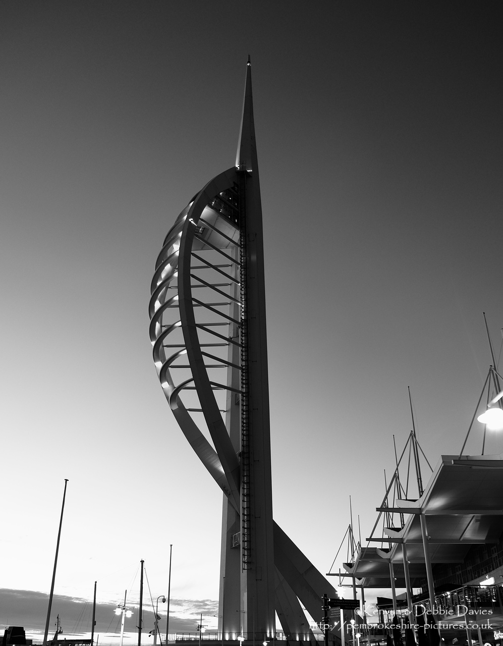 Standing at 560ft (170m) The Spinnaker is the highest human built and accessible point in Britain outside London.