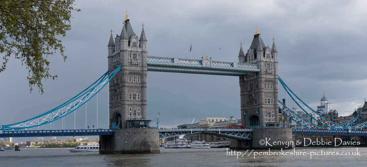 Started in 1886 and completed in 1894, Tower Bridge is a combined bascule (draw) and suspension bridge. It is close The Tower of London, from which it takes it's name.