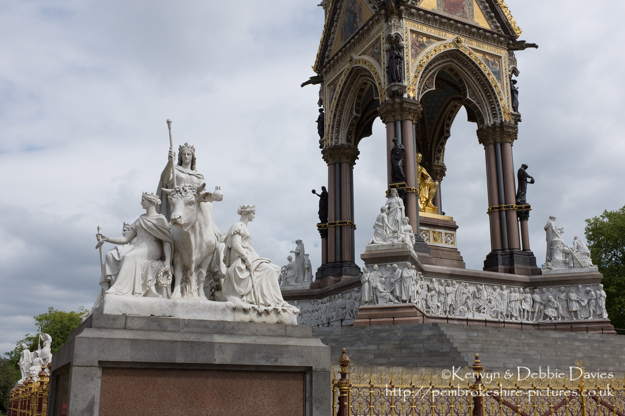 Officially the Prince Consort National Memorial.<br/><br/>Located in Kensington Gardens on Albert Memorial Road opposite the Royal Albert Hall.