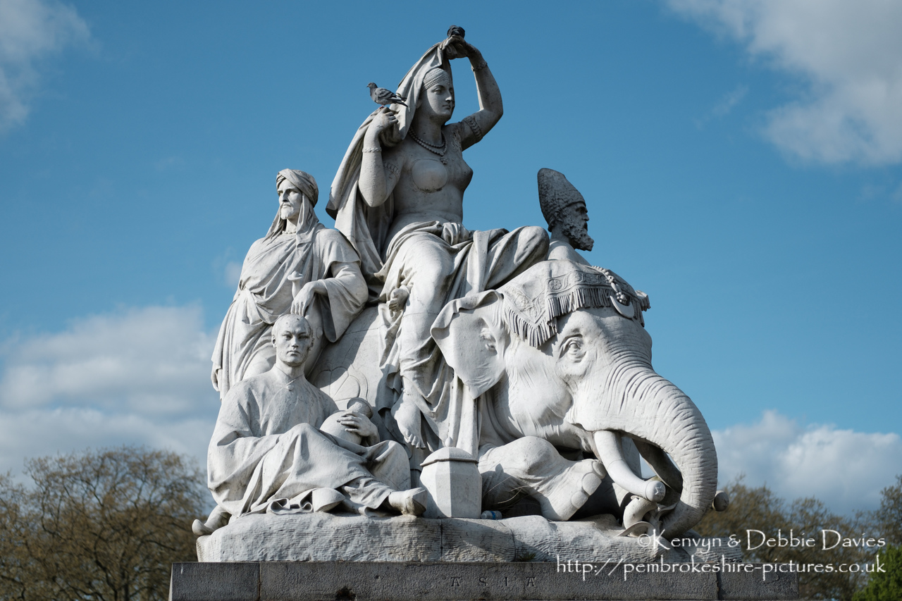 """Asia"" alegorical sculpture at The Albert Memorial.<br/><br/>Officially the Prince Consort National Memorial.<br/><br/>Located in Kensington Gardens on Albert Memorial Road opposite the Royal Albert Hall."