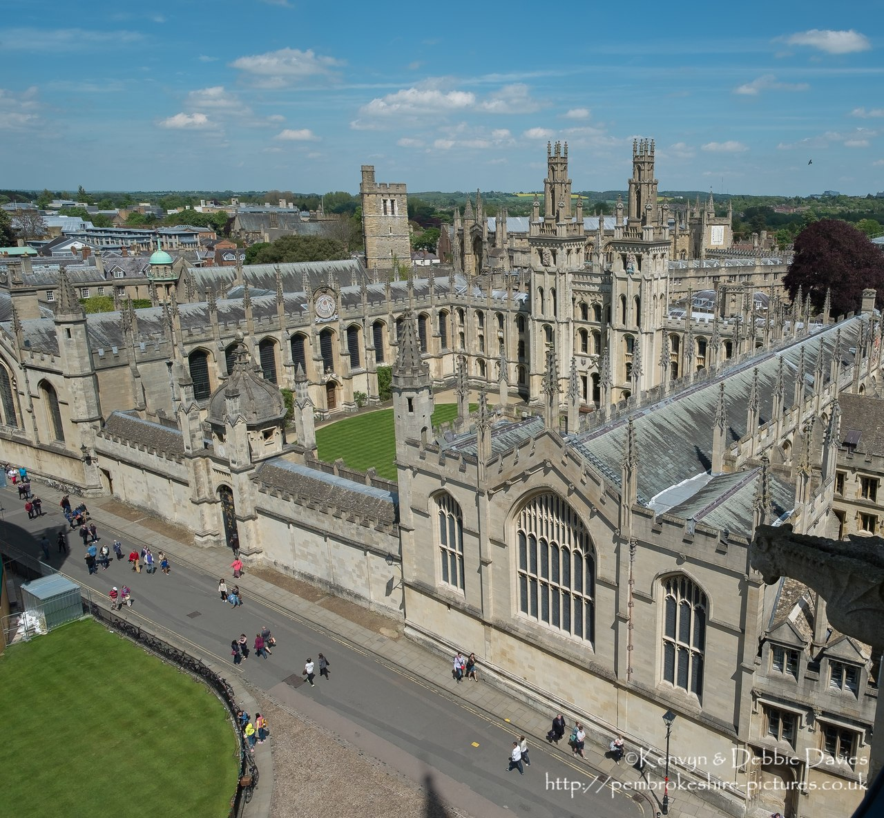 View of All Souls College, Oxford from the Church of St Mary the Virgin.