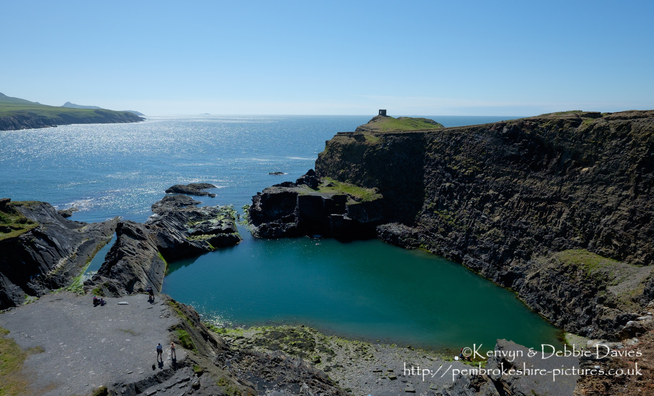 """The Blue Lagoon"" is a disused slate quarry in North Pembrokeshire. Abandoned in 1901, it flooded in the 1930s and - despite the name - usually has a green colour owing to the mineral content in the quarry. At 25m deep, the quarry now gets used for diving and coasteering."