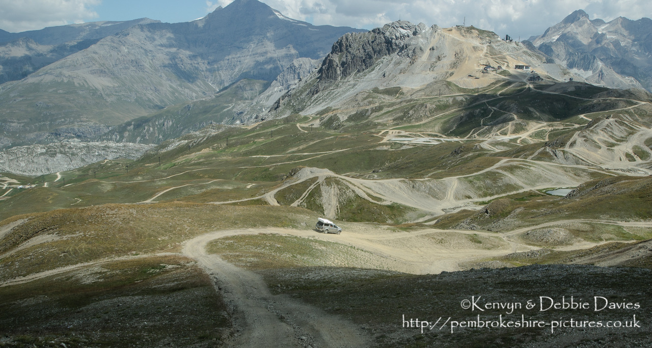 The Val d'Isère ski resort is used as an off-roading course during the summer months when there little snow about. Manufacturers use it to test their new 4x4's. Taken in 2003 with a Nikon D1X