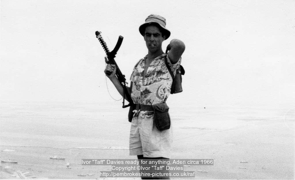 "Ivor ""Taff"" Davies ready for anything, Aden circa 1966"