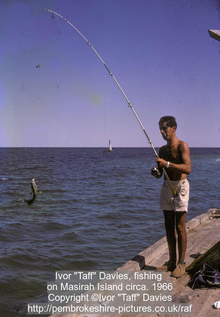 "Ivor ""Taff"" Davies, fishing on Masirah Island circa. 1966"