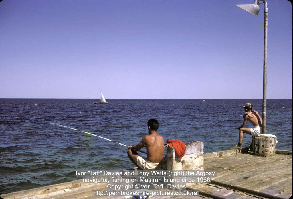 "Ivor ""Taff"" Davies and Tony Watts (right) the Argosy navigator, fishing on Masirah Island circa 1966"