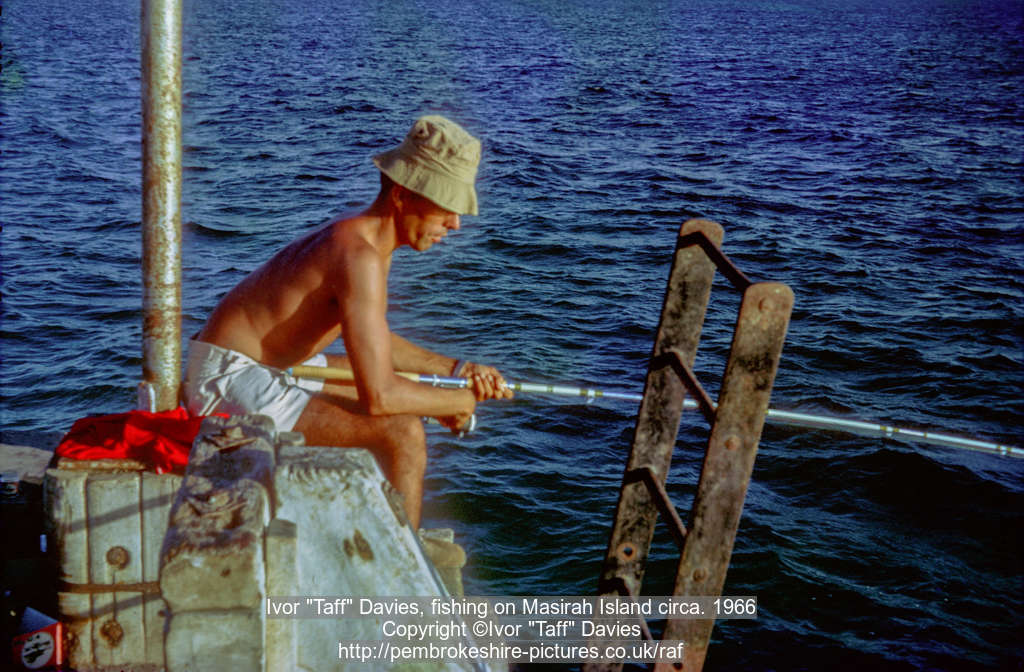 "Ivor ""Taff"" Davies, fishing on Masirah Island circa. 1966"