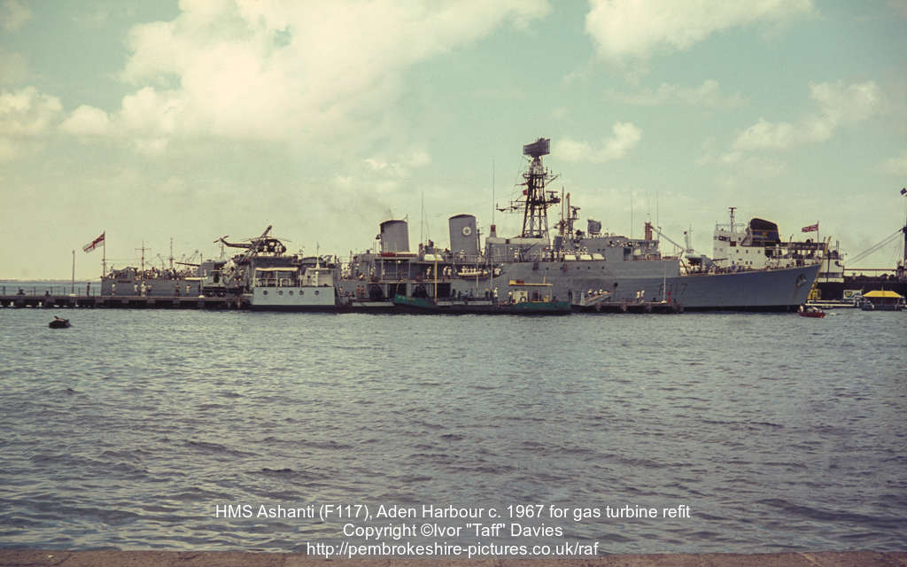 HMS Ashanti (F117), Aden Harbour c. 1967 for gas turbine refit