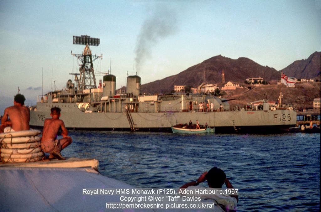 Royal Navy HMS Mohawk (F125), Aden Harbour c.1967