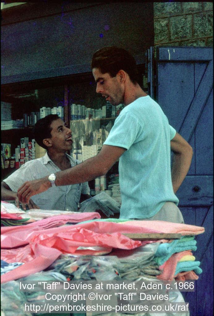"Ivor ""Taff"" Davies at market, Aden c.1966"