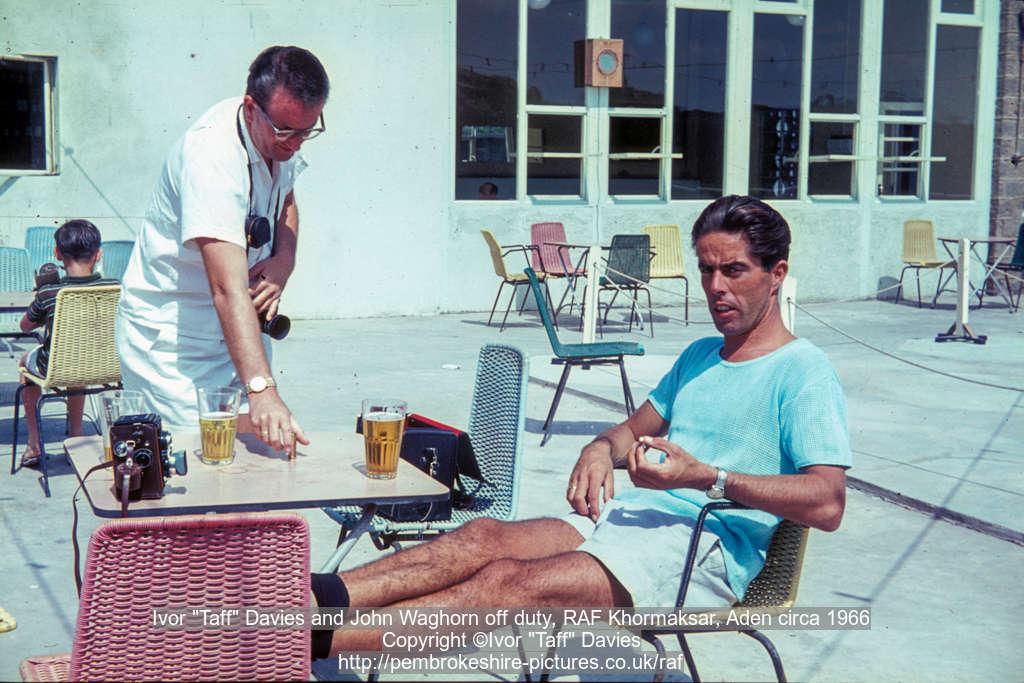 "John Waghorn anf Ivor ""Taff"" Davies off duty, RAF Khormaksar, Aden circa 1966"