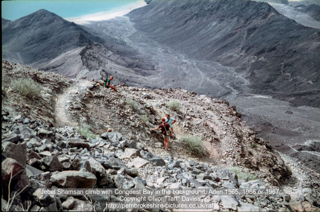 Jebel Shamsan climb with Conquest Bay in the background. Aden 1965, 1966 or 1967