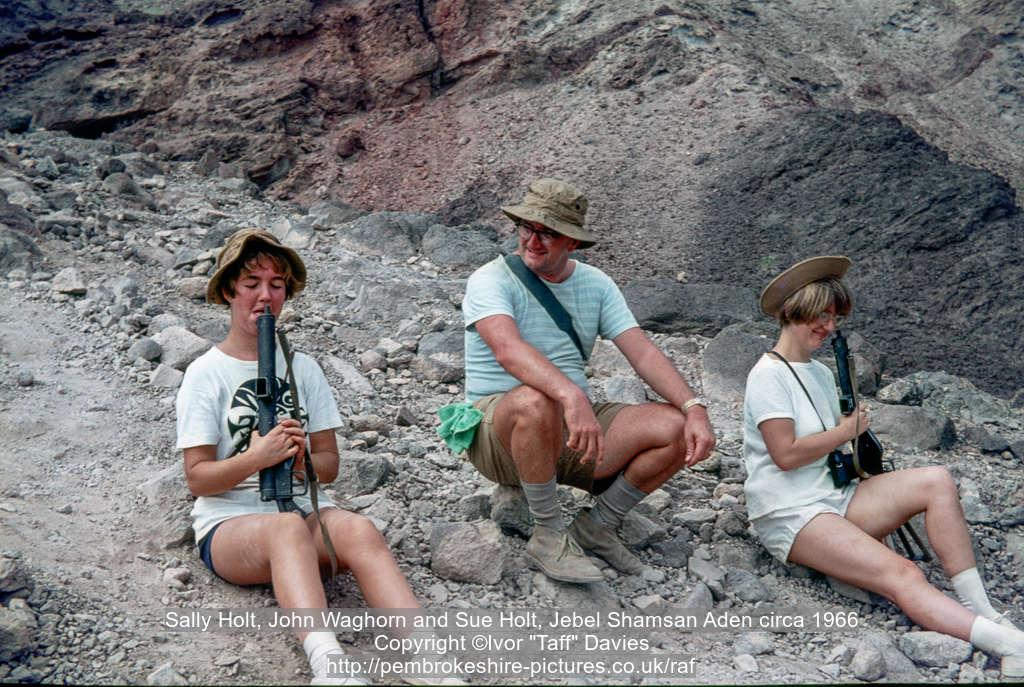 Sally Holt, John Waghorn and Sue Holt, Jebel Shamsan Aden circa 1966