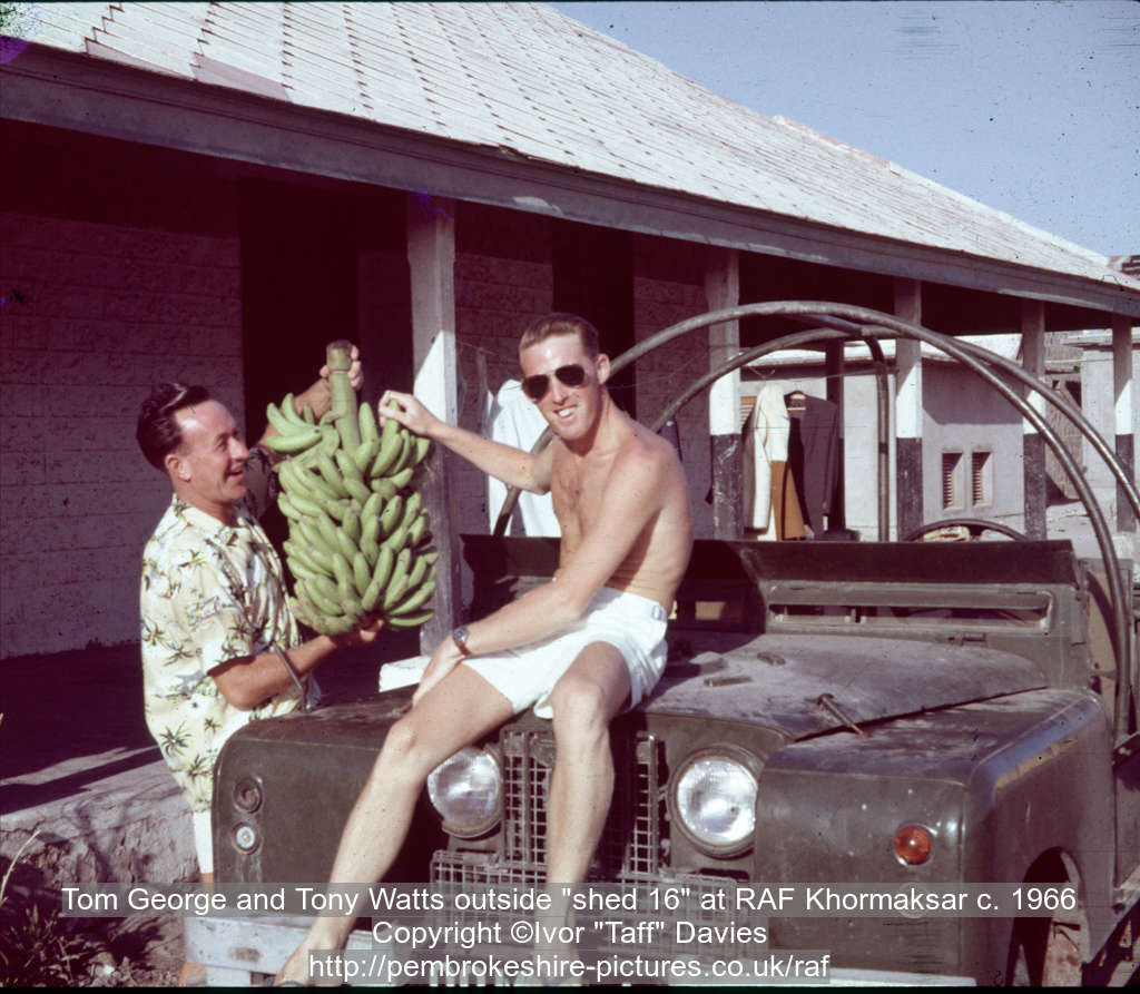 "Tom George and Tony Watts outside ""shed 16"" at RAF Khormaksar c. 1966"