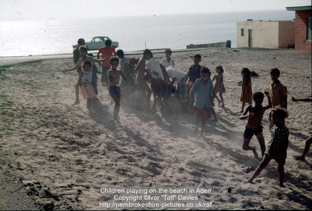 Children playing on the beach in Aden