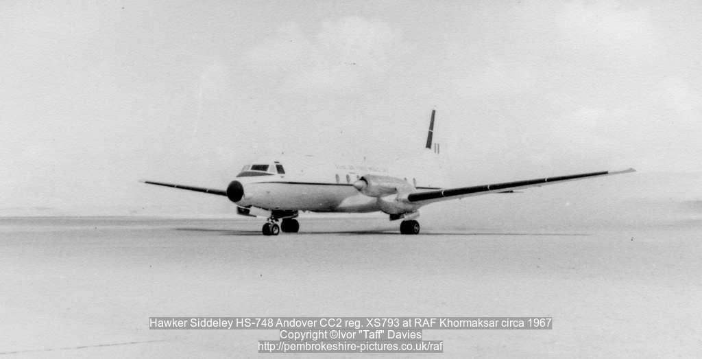 Hawker Siddeley HS-748 Andover CC2 reg. XS793 at RAF Khormaksar circa 1967