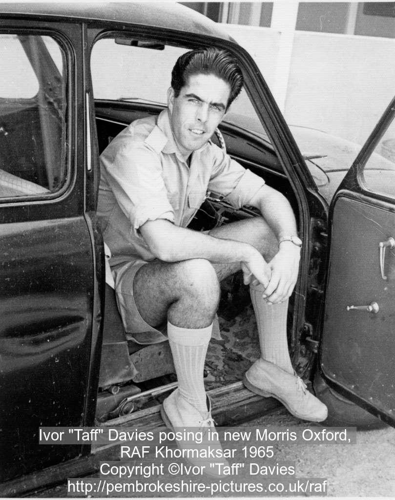 "Ivor ""Taff"" Davies posing in new Morris Oxford, RAF Khormaksar 1965"
