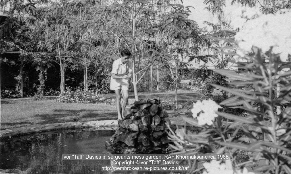 "Ivor ""Taff"" Davies in sergeants mess garden, RAF Khormaksar circa 1966"