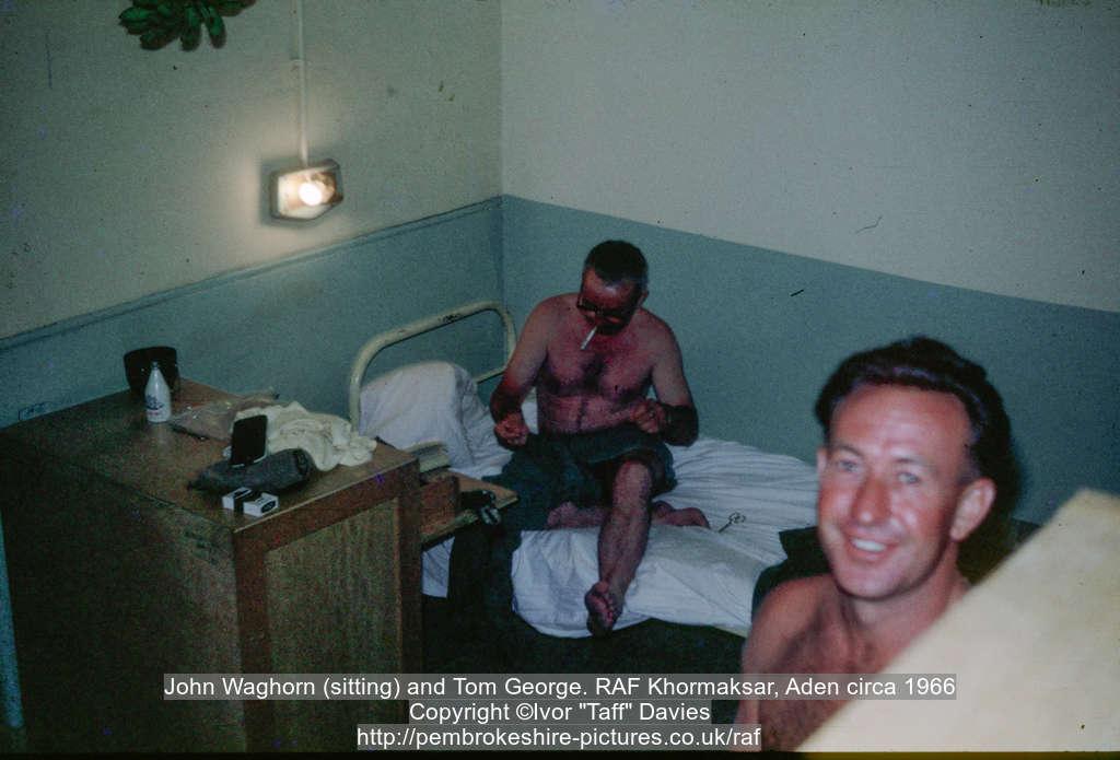 John Waghorn (sitting) and Tom George. RAF Khormaksar, Aden circa 1966