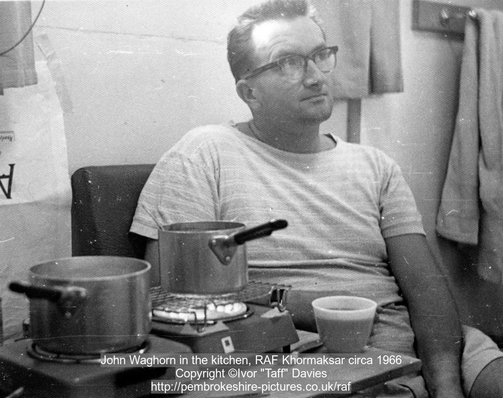 John Waghorn in the kitchen, RAF Khormaksar circa 1966