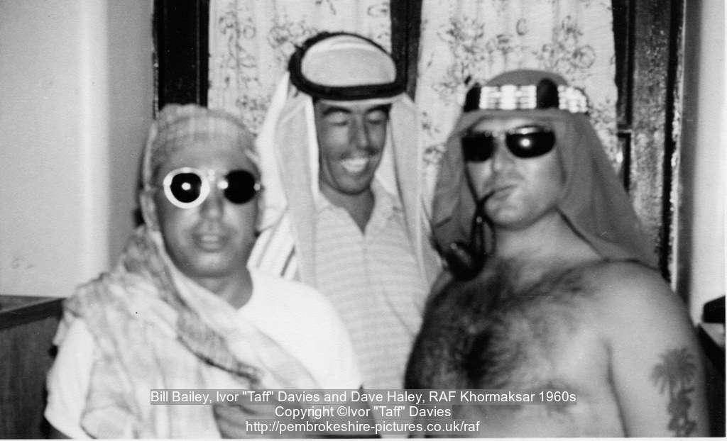 "Bill Bailey, Ivor ""Taff"" Davies and Dave Haley, RAF Khormaksar 1960s"