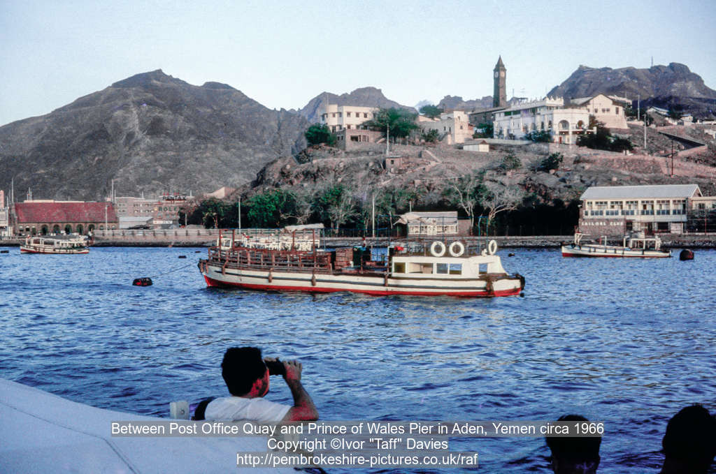 Between Post Office Quay and Prince of Wales Pier in Aden, Yemen circa 1966
