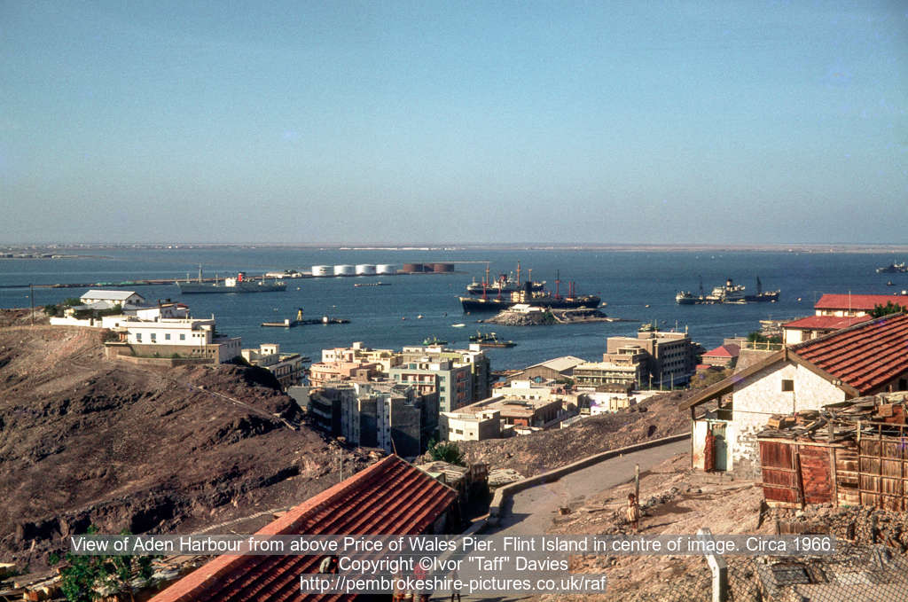 View of Aden Harbour from above Price of Wales Pier. Flint Island in centre of image. Circa 1966.
