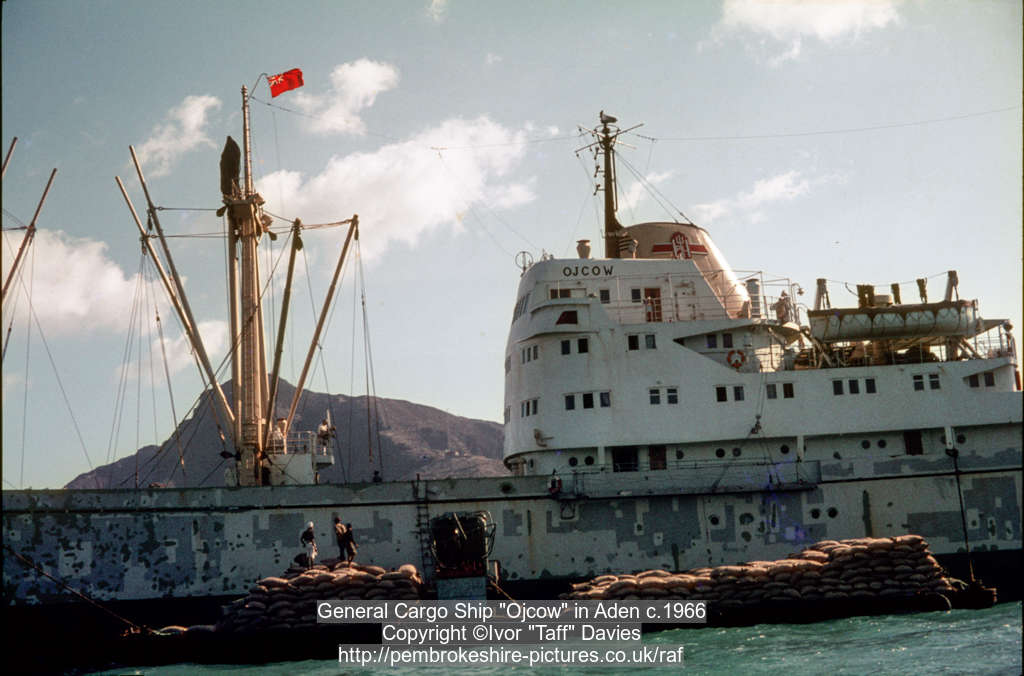 "General Cargo Ship ""Ojcow"" in Aden c.1966"