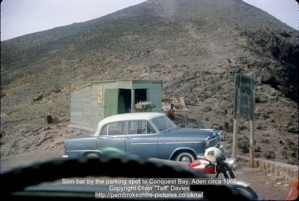 Stim bar by the parking spot to Conquest Bay, Aden circa 1966