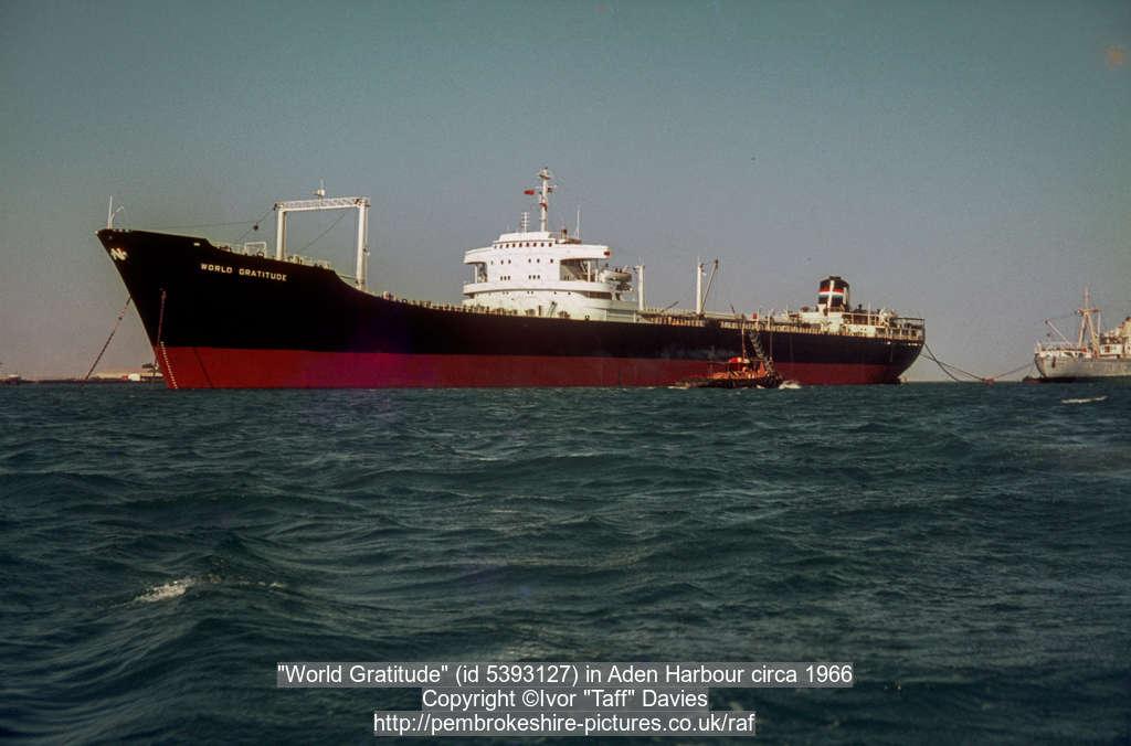 """World Gratitude"" (id 5393127) in Aden Harbour circa 1966"