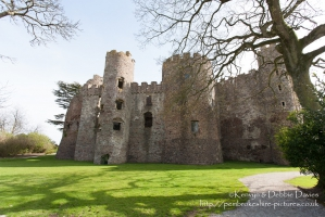Looking over the Taf Estuary, Laugharne Castle was built in the 13th Century - ...