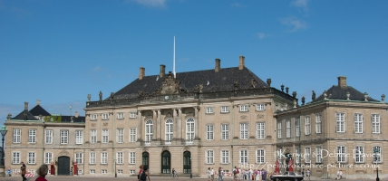 Built by Frederik V to celebrate the 300th anniversary of the House of Oldenborg, Amalienborg consists of four palaces built around a square. These are Moltkes Palace (Christian VII's palace), Schackske Palace (Christians IX's palace and residence of Queen Margrethe and Prince Henrik), Levetzaus Palace (Christian VIII's palace) and Brockdorfske