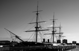 Built between 1859-61, The HMS Warrior was one of two armoured frigates (her sister ship was the HMS Black Prince) built in response to the French Napol?on, the first steam powered battleship in the world. She was the largest, most powerful and fastest ship of her day but soon became obsolete as maritime warfare equipment advanced. She is now docked in Portsmouth Harbour and has been restored as part of the National Maritime Fleet.