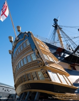 HMS Victory is a 104-gun first-rate ship of the line of the Royal Navy, laid down in 1759 and launched in 1765. She is most famous as Lord Nelson's flagship at the Battle of Trafalgar in 1805.<br/><br/>HMS Victory is the flagship of the First Sea Lord and is the oldest naval ship still in commission.