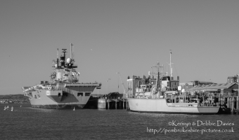 HMS Illustrious and HMS Cattistock in Portsmouth Harbour