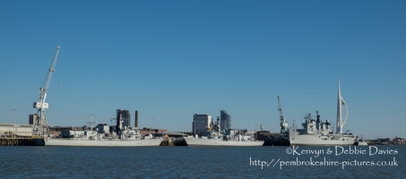 HMS Lancaster, Richmond and Illustrious in Portsmouth Harbour