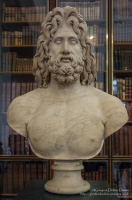 Colossal head, probably of Zeus, set into a modern bust. From the villa of the Roman Emperor Hadrian at Tivoli.