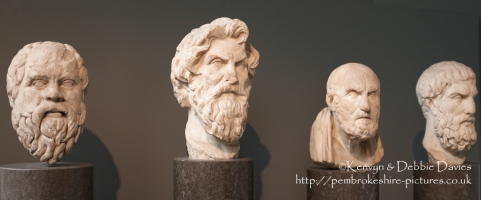 Socrates, Antisthenes, Chrysippos,and Epikouros, busts of four Greek Philosophe...