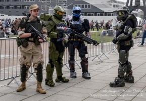 A collection of Halo Master Sergeants' at London Comic Con