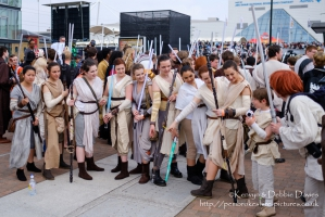 A collection of Rey from Star Wars The Force Awakens at London Comic Con 2016