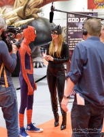 Catwoman interviewing Spiderman at London Comic Con 2016