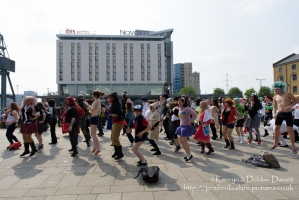 Cosplayers having a dance...