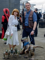 Owen and Claire from Jurassic World, cosplayers at London Comic Con 2016