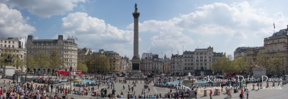 Nelson's Column and Trafalgar Square panoramic