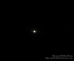 From left: Ganymede,Europa, Io, Jupiter and Callisto